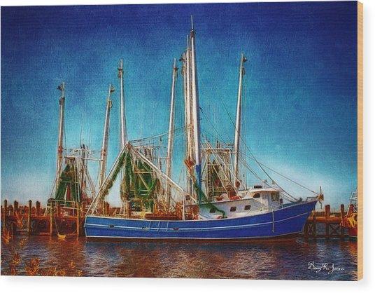 Biloxi Boat Docks Wood Print