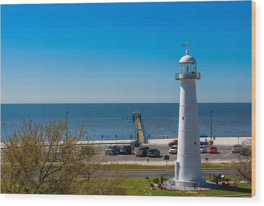 Biloxi Lighthouse And The Gulf Of Mexico Wood Print