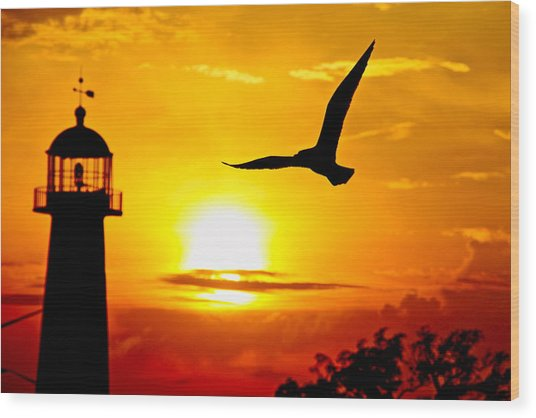 Biloxi Lighthouse Sunset Wood Print