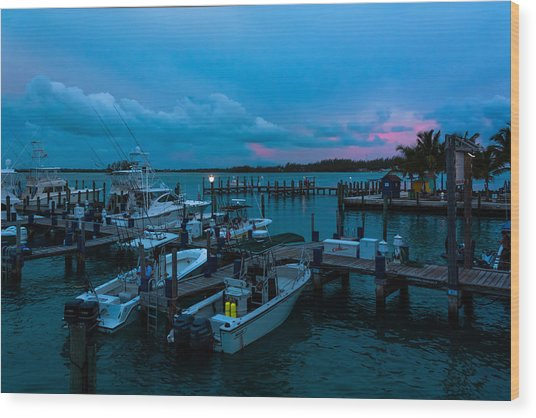 Bimini Big Game Club Docks After Sundown Wood Print