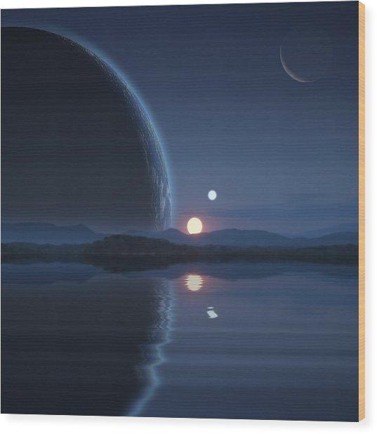 Binary Sunset No.2 Wood Print