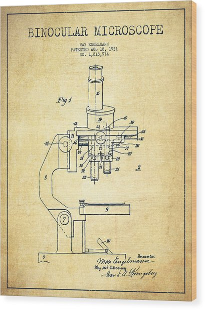Binocular Microscope Patent Drawing From 1931-vintage Wood Print by Aged Pixel