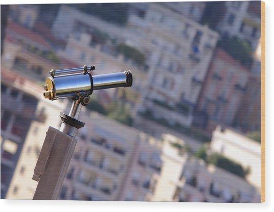 Binoculars View Of City Wood Print by Ioan Panaite
