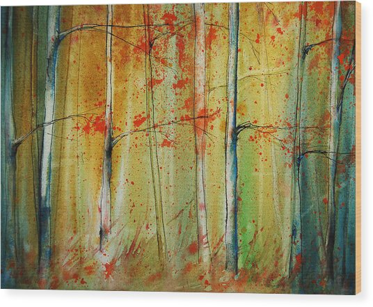 Wood Print featuring the painting Birch Tree Forest I by Jani Freimann
