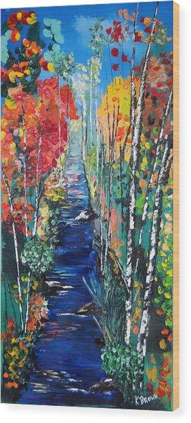Birch Trees Along River Bank Wood Print