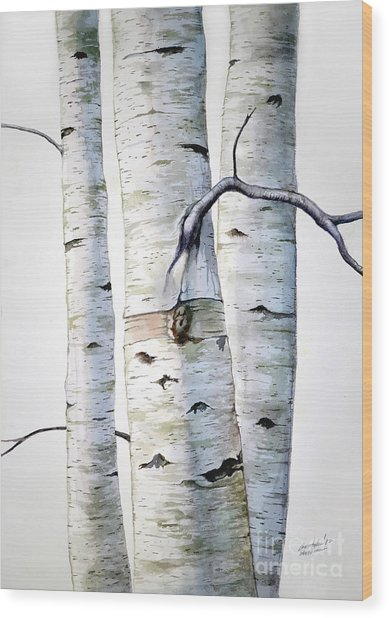 Birch Trees In Watercolor Wood Print
