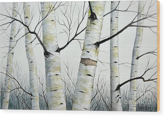 Birch Trees In The Forest In Watercolor Wood Print