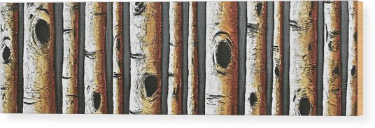 Birches A Touch Of Red Wood Print by Lori McPhee