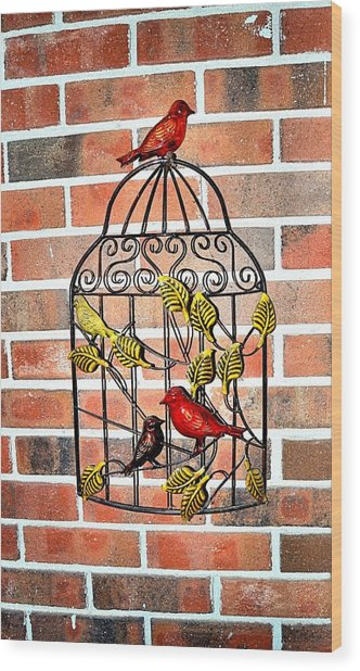 Bird Cage Decor Wood Print