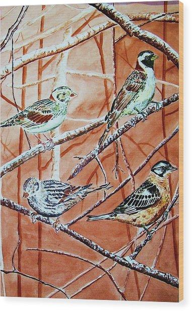 Bird Foursome Wood Print by Linda Vaughon