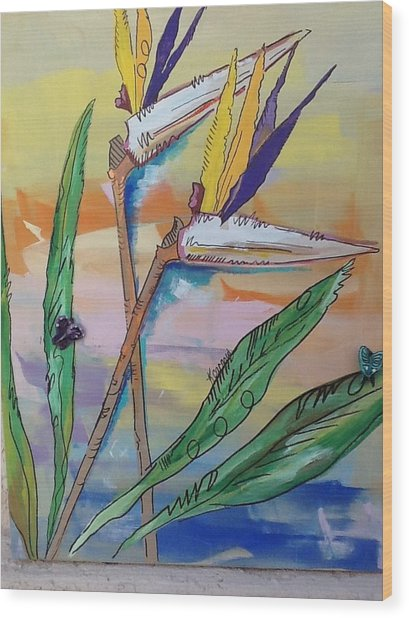 Bird Of Paradise Wood Print by Karen Carnow