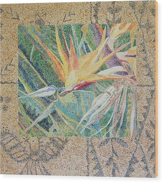 Bird Of Paradise With Tapa Cloth Wood Print