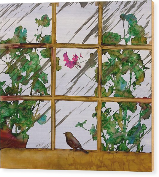 Bird With A View Wood Print by Carolyn Doe