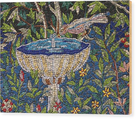 Birdbath Mosaic Wood Print