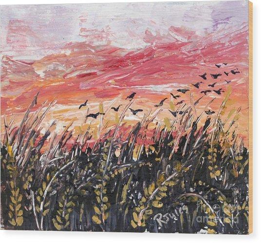 Birds In Wheatfield Wood Print