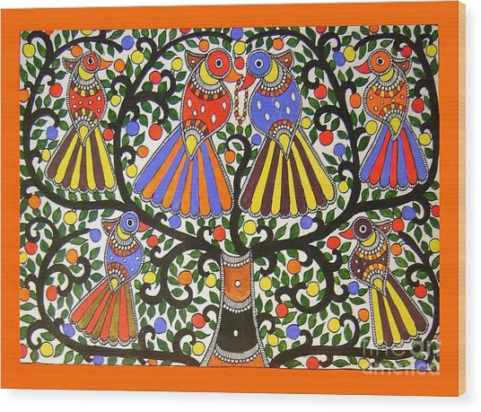 Birds-madhubani Painting Wood Print