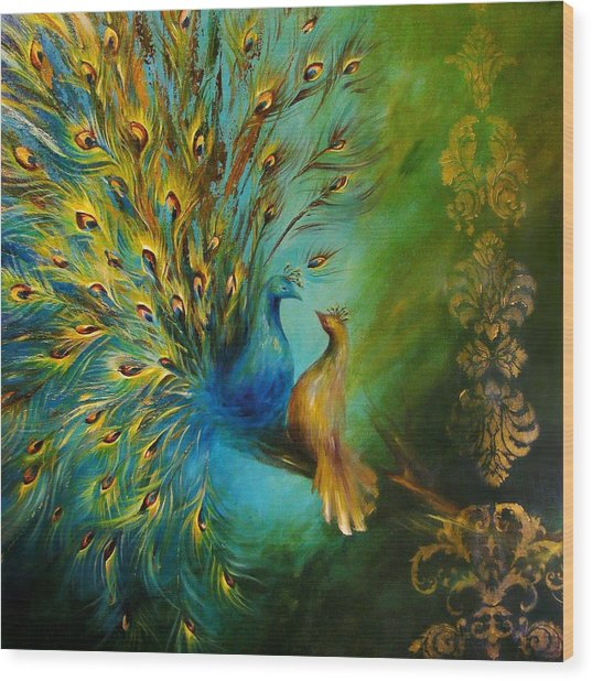 Birds Of A Feather Peacocks 3 Wood Print