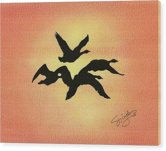 Birds Of Flight Wood Print