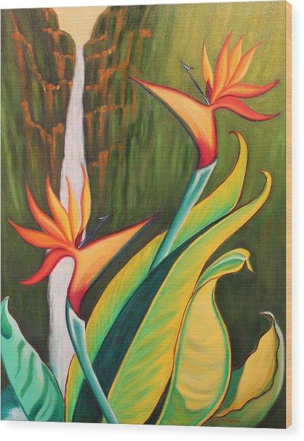 Birds Of Paradise Wood Print