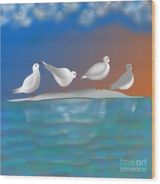 Birds Of Summer Breeze Wood Print