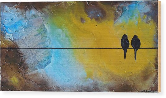 Birds On A Wire Lovebirds Wood Print