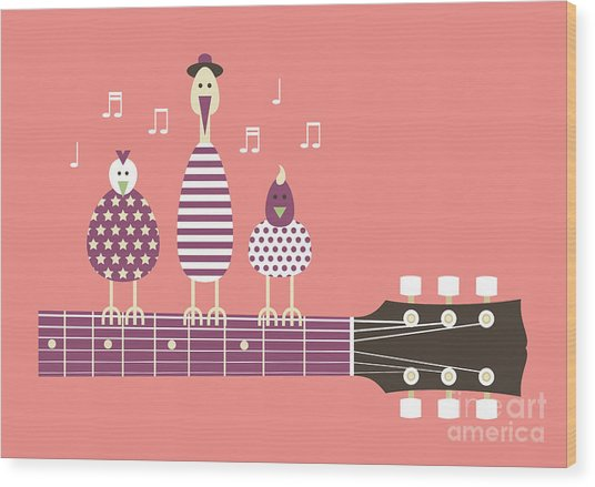 Birds Sing To The Guitar Neck, Vector Wood Print