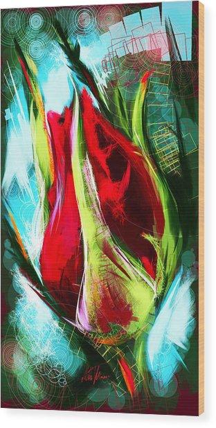 Birth Of A New Rose Wood Print