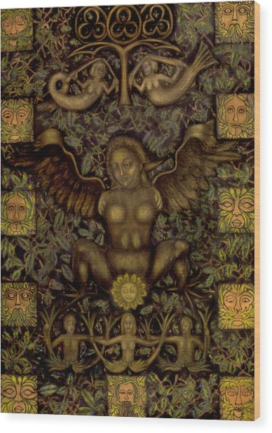 Birth Of The Greenman Wood Print