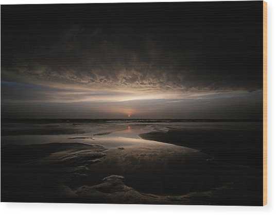 Biscarrosse Sunset Wood Print