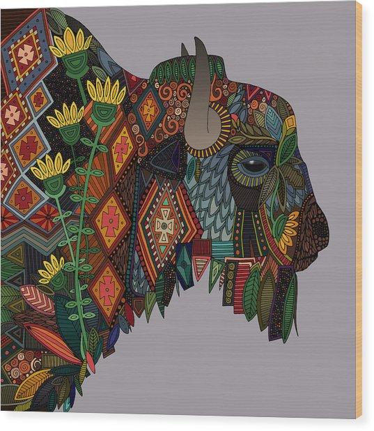 Bison Heather Wood Print