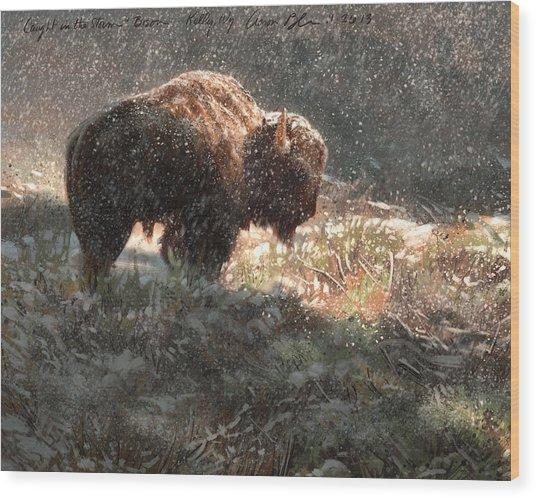 Bison In The Snow Wood Print
