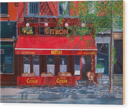 Bistro Citron New York City Wood Print