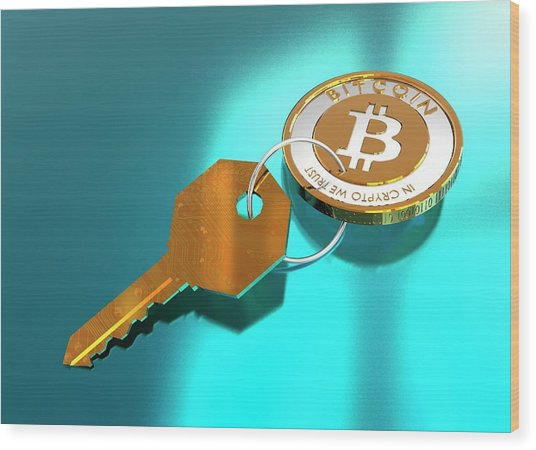 Bitcoin And Key Wood Print by Victor Habbick Visions/science Photo Library