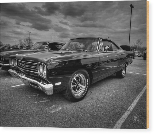 Wood Print featuring the photograph Black '69 Plymouth Road Runner 001 by Lance Vaughn
