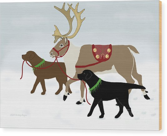 Black And Chocolate Labs Lead Reindeer Wood Print