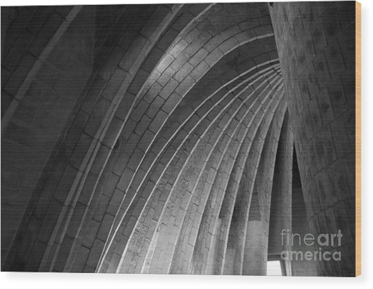 Black And White Arches Wood Print