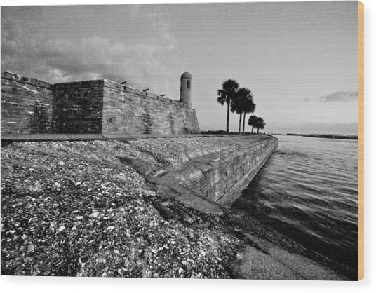 Black And White Castillo De San Marcos View 3 Wood Print