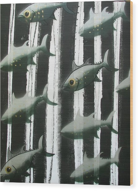 Black And White Fish Wood Print