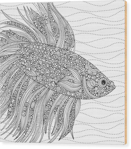 Black And White Fish Wood Print