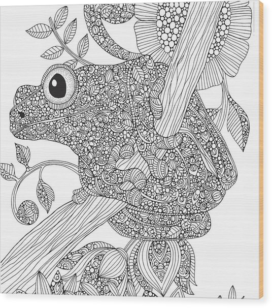 Black And White Frog Wood Print