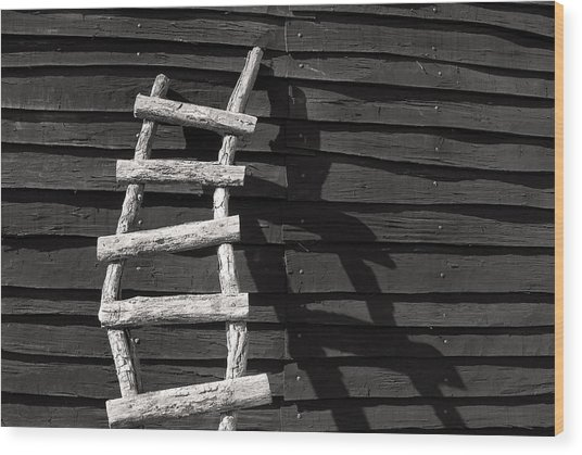 Black And White Ladder Wood Print