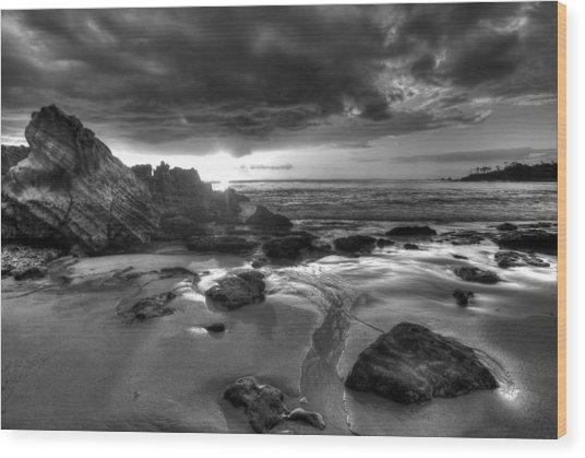Black And White Laguna Beach Wood Print