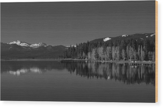 Black And White Lake Tahoe Reflection Wood Print