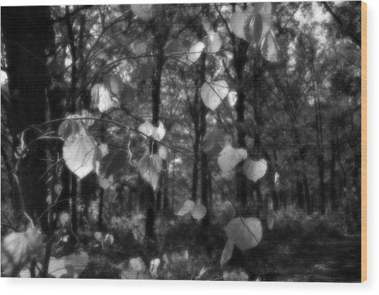 Black And White Leaves Wood Print
