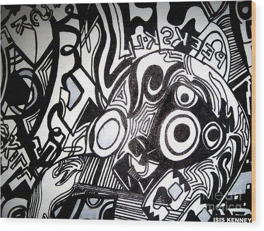 Black And White Line Drawing Wood Print by Isis Kenney
