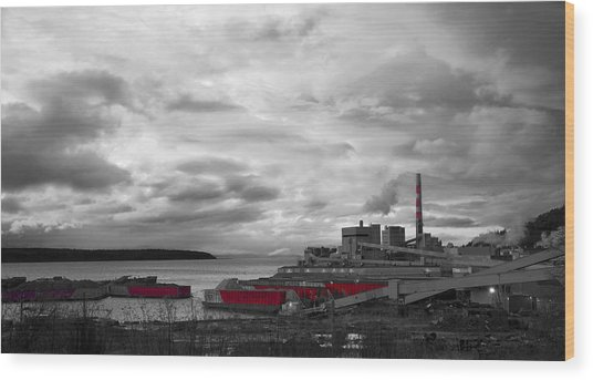 Black And White Mill Wood Print