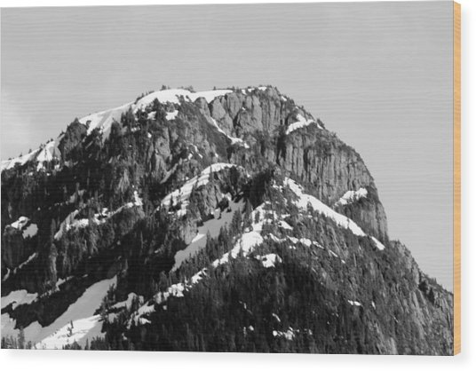 Black And White Mountain Range 4 Wood Print by Diane Rada
