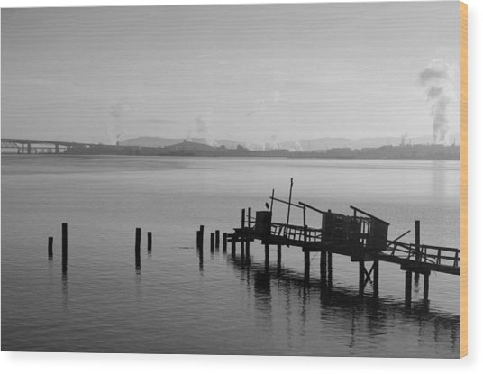 Black And White Oakland Bay Wood Print