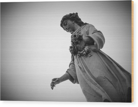 Black And White Statue Wood Print