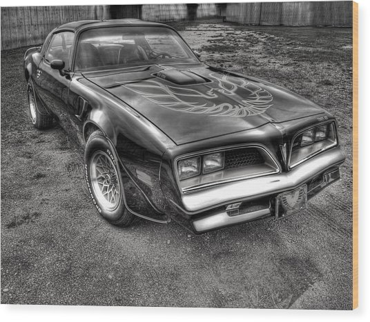 Black And White Trans Am Wood Print
